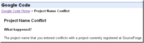 Google conflicts SF.net